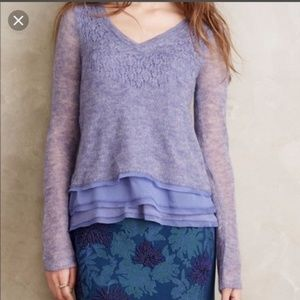 Anthro Knitted Knotted Alpaca Wool Blend Sweater S